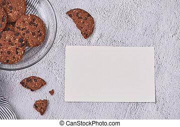 heureux, valentine?s, jour, card., doux, chocolats, cookies., concept, amour, cookies., sommet, vue., gratuite, texte, space.