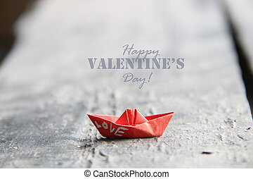 heureux, valentine?s, jour, carte, à, bateau papier