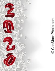 heureux, vecteur, année, nouveau, 2020, illustration, bannière