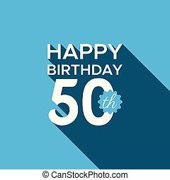 heureux, vecteur, anniversaire, 50th