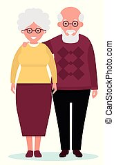 heureux, vecteur, arrière-plan., vieux style, blanc, dessin animé, plat, couple, illustration, sourire