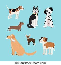 heureux, vecteur, ensemble, chiens, dessin animé