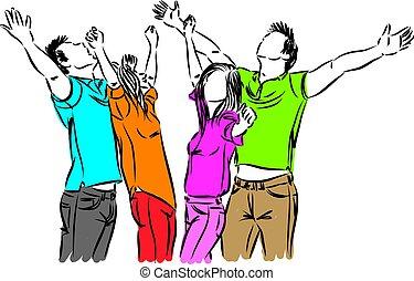 heureux, vecteur, ensemble, illustration, gens