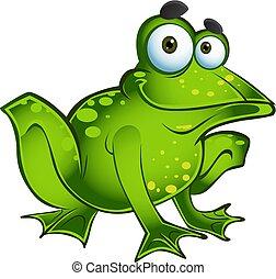 heureux, vecteur, grenouille, vert