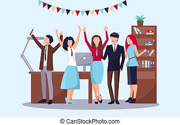 heureux, vecteur, illustration, gens bureau
