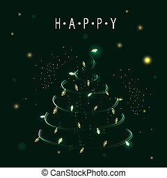 heureux, vector., symbole, année, clair, arbre., joyeux, nouveau, vacances, brillant, noël, celebration., design.