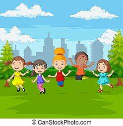 heureux, vert, parc ville, sauter, enfants