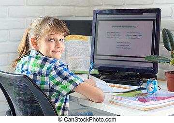 heureux, vieux, 7-9, girl, travail ordinateur, années