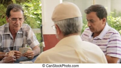 heureux, vieux amis, jouer cartes, jeu, personne agee, gens, loisir