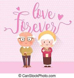 heureux, vieux, illustration, couple., vecteur