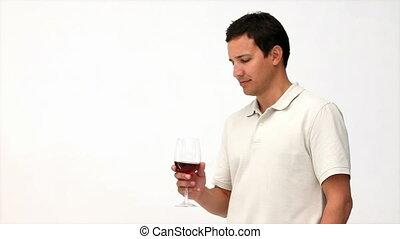 heureux, vin buvant, rouges, homme