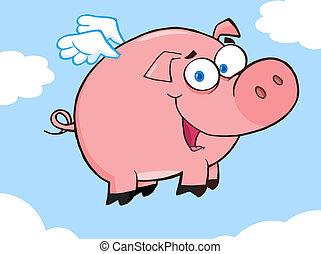 heureux, voler, ciel, cochon