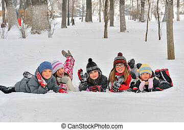 heureux, winterwear, rire, enfants