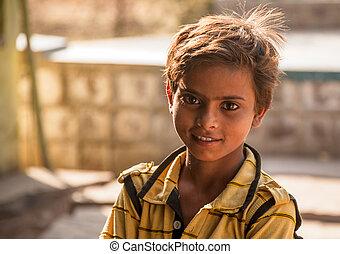 heureux, yeux, indien, clair, enfant