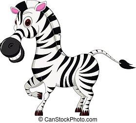 heureux, zebra, dessin animé