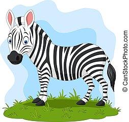 heureux, zebra, herbe, dessin animé