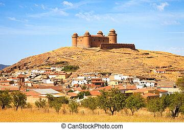 heuvel, middeleeuws, la, de, andalusia, calahorra, dorp, ...