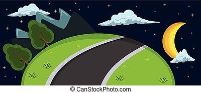 heuvel, spotprent, achtergrond, nacht