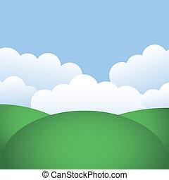 heuvels, en blauw, hemel