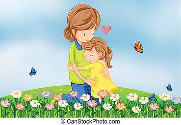 heuveltop, moeder, het troosten, haar, kind