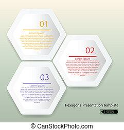 hexágono, apresentação, limpo, modelo