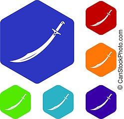 hexágono, conjunto, cimitarra, espada, iconos