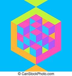 hexágono, forma, con, cubos, inscribed.