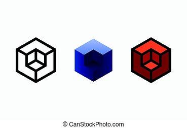 hexágono, logotipo, design., creativo, emblema, template.,...