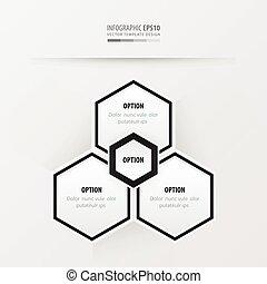hexágono, vetorial, desenho, preto branco, cor