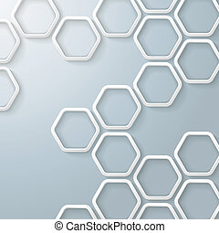 hexágonos, panal, infographic, blanco