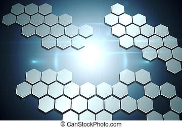 hexágonos, tecnológico, plano de fondo