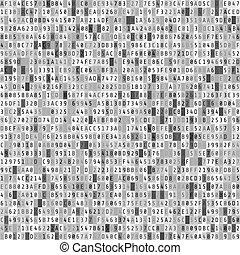 Hex code stream. Abstract digital data element. Matrix background. Vector illustration