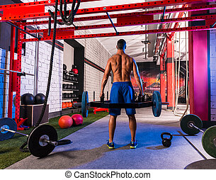 Hex Dead Lift Shrug Bar Deadlifts man at gym