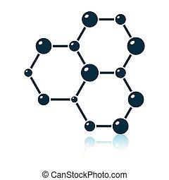 hexa, collegamento, chimica, icona, atomi