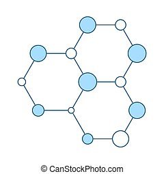 hexa, collegamento, chimica, icona