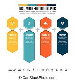 hexa, diapositiva, infographic, metro