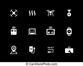 Hexacopter and quadcopter icons on black background.