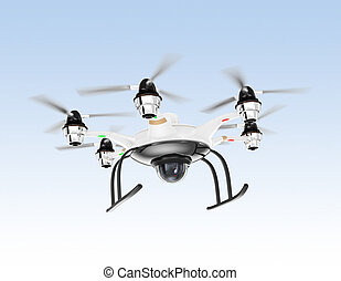 Hexacopter drone in the sky