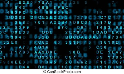 Hexadecimal big data digital code running through black and blue mainframe in a futuristic information technology computer.