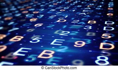 hexadecimal, données, loopable, fond, numérique