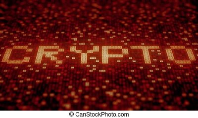 Hexadecimal symbols on a red display compose CRYPTO word....