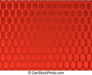 hexago, résumé, arrière-plan rouge
