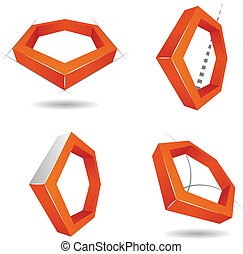 Hexagon 3D logo, for companies