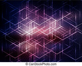 Hexagon abstract science technology purple background.