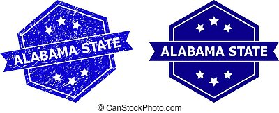 Hexagon ALABAMA STATE Stamp with Grunge Style and Clean Variant