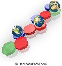 Hexagon and Earth globe