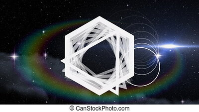 Animation of multiple glowing neon white circle, triangles and hexagons glowing spots of light, stars moving in seamless loop in hypnotic motion. Colour and movement concept digitally generated image.
