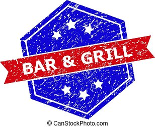 Hexagon Bicolor BAR & GRILL Stamp Seal with Scratched Surface