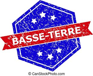 Hexagon BASSE-TERRE seal stamp. Flat vector red and blue bicolor scratched watermark with BASSE-TERRE title inside hexagon form, ribbon is used also. Rubber imitation with scratched texture,