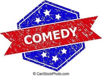 Hexagon COMEDY stamp. Flat vector red and blue bicolor grunge rubber stamp with COMEDY caption inside hexagoanl shape, ribbon used. Rubber imitation with grunge surface, on a white background.